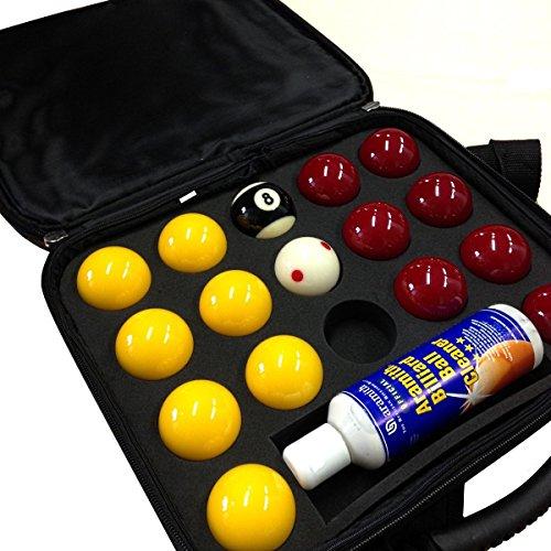 Aramith Super Pro Cup Billardkugeln 5,1cm rot & gelb Pool-Kugeln, Reiniger & Koffer im Set