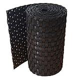 workingHOUSE® Polyrattan-Sichtschutzstreifen, Sichtschutz für Doppelstabmatten Zaun, 19 x 250 cm (Schwarz)