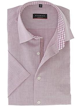 ETERNA Herren Kurzarm Hemd aus 100% Baumwolle Modern Fit mit Kent Kragen gequemer geschnitten Gr. 38 Weinrot Strukturiert