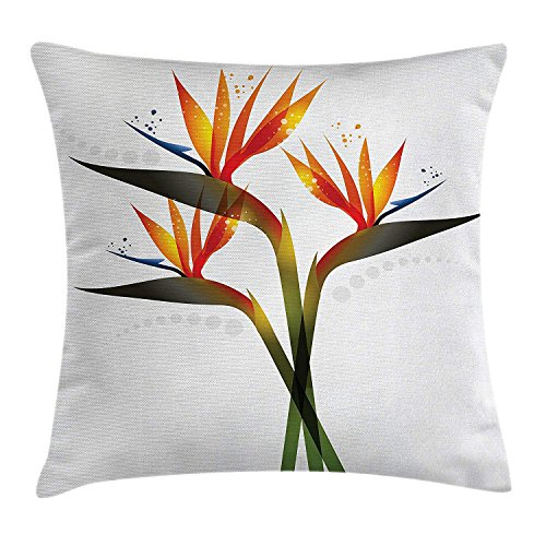 Flower Throw Pillow Cushion Cover, Vivid Ombre Colored Botanic Tropical Garden Plant with Abstract Dots Artwork, Decorative Square Accent Pillow Case, 18 X18 Inches, Green and Orange Botanic Garden Tower