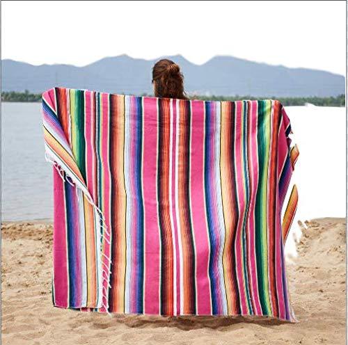 MYQG Strandtuch Ethnische Regenbogen Gestreift Strand Handtuch Bohemia Mexikanische Navajo Decke Multifunktionale Badezimmer Handtuch/tischdecke 35x215cm rot (215 Batman)