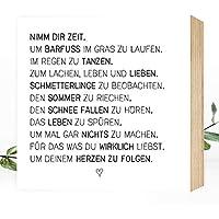 Nimm Dir Zeit - einzigartiges Holzbild 15x15x2cm zum Hinstellen/Aufhängen, echter Fotodruck mit Spruch auf Holz - schwarz-weißes Wand-Bild Aufsteller Zuhause Büro zur Dekoration oder als Geschenk