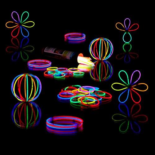 Relaxdays 200 Knicklichter inkl. 208 x 3D-Verbinder, 8 h Leuchtdauer, Glow Stick, Leuchtstäbe Profiqualität, 7-Farb-Mix