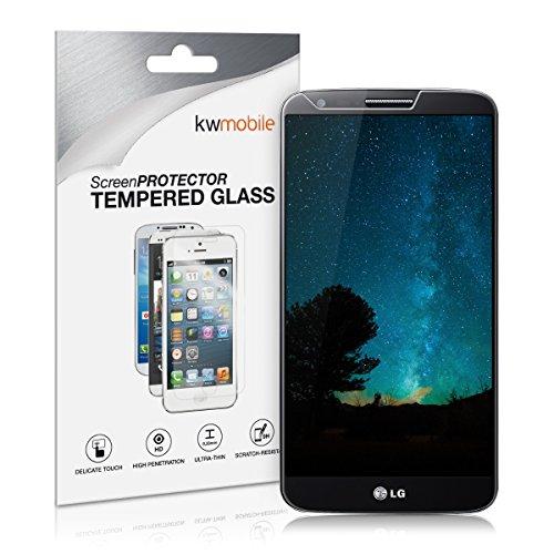 kwmobile LG G2 Folie - Glas Handy Schutzfolie für LG G2 (Kleiner als das Bildschirm)