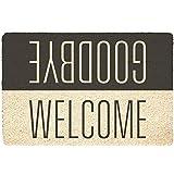 Schwarzer und Weißer Einfacher Teppich, Einzelnes Warmes Muster, Tür-zu-Tür Anti-Rutschteppich (Muster : Willkommen auf Wiedersehen)