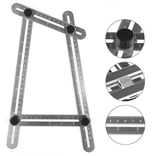 URXTRAL Messgerät Angleizer Vorlage Werkzeug, Aluminium Angle-izer Multi-Angle Lineal Vorlage Maßnahmen für Handymen, Bauherren, Handwerker, Tischler, Ingenieure (Silber)