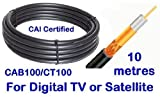 Webro WF100 10 m Low Loss Digital Satellite Coax Cable with 10 Clips - black