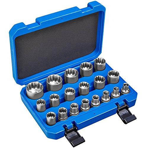 Preisvergleich Produktbild TecTake 19 tlg. Gear Lock Steckschlüsselsatz | Passend für die metrische und zölligen Schlüsselweiten und Außen-Torx | inkl. Koffer