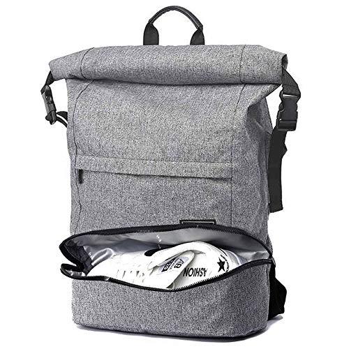 TuGuan Roll Top Canvas Rucksack Stilvolle Komfort Anti-Theft Laptop Rucksack Reisetasche Casual Schule Sport Daypack 15,6 Zoll für Männer & Frauen (Grau)