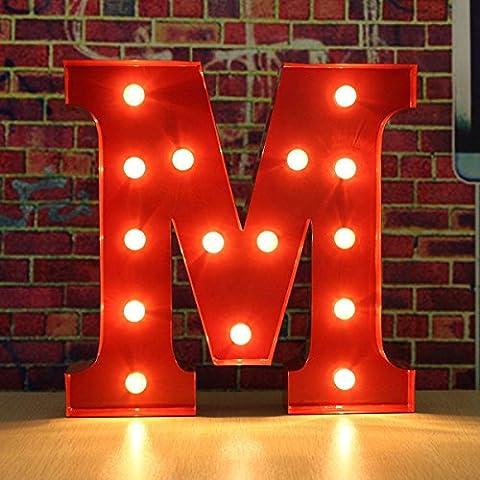 SOLMORE 30*5CM Lettre LED à Pile Lumineux A-Z Métal Alphabet Lampe Ampoule Stickers Muraux DIY Décoration Mariage Soirée Anniversaire Fête Noël École Hôtel Bar Restauration Chambre Enfant (Rouge) M