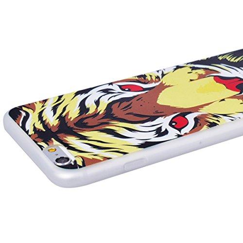 WE LOVE CASE iPhone 6 / 6s Hülle 3D Scheuern Entlastung Wolf iPhone 6 / 6s Hülle Silikon Weich Weiß Handyhülle Tasche für Mädchen Elegant Backcover , Soft TPU Flexibel Case Handycover Stoßfest Bumper  tiger