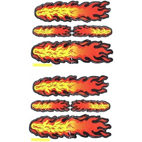 Pared Puerta De Coche Pegatina Decorativa Fuego Llama Calcomanía Pegatinas 9 x 5.5cm Amarillo Naranja Rojo Par