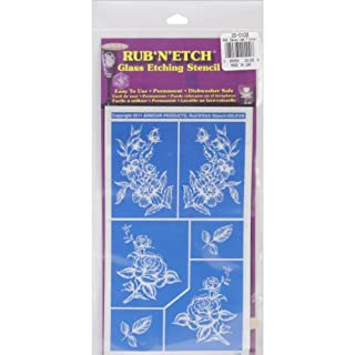 Armour Products Plastic Rub 'N' Etch Designer Stencil 5-inch x 8-inchDetailed Floral
