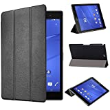 tinxi® Housse en cuir PU pour Sony Xperia Z3 Tablet SGP611/Sony Xperia Z3 Tablet Compact 8.0 Pouces (20.32cm) étui Sony Xperia Z3 SGP611 Tablette 8'' case cover housse de protection Sony Xperia Z3 SGP611 Tablet/Z3 Tablet Compact Design en Noir