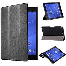 tinxi® PU la piel artificial funda para Sony Xperia Z3 Tablet Compact 8 pulgadas (20,32cm) Caso Caja Cubierta con la función del soporte con el negro fondo