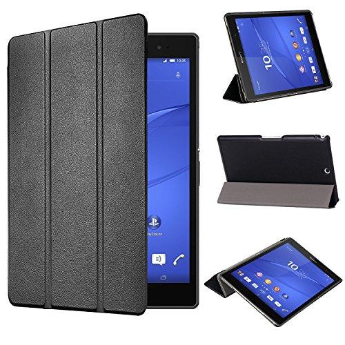 tinxi® Kunstleder Tasche für Sony Xperia Z3 Tablet Compact 8 zoll (20,32) Tasche Folio Schutzhülle Etui Hülle Case Cover Etui mit Magnet Verschluß schwarz