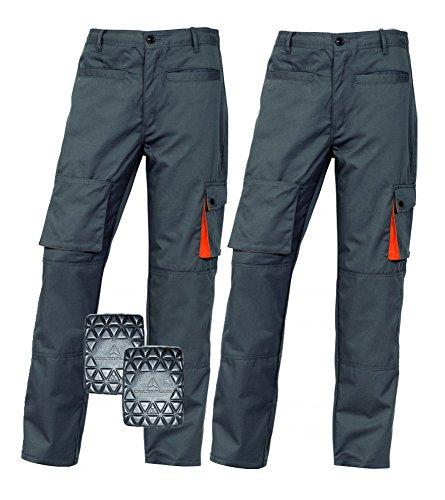 2x paia Delta Plus Mach2Ginocchiera Tasca Pantaloni Cargo da lavoro con ginocchiere Grey/Orange Large