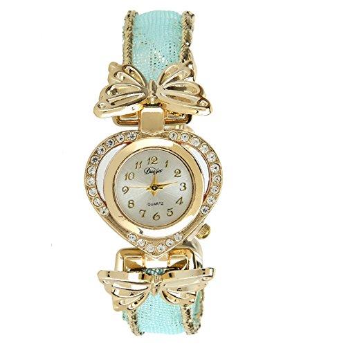 Domybest Strass Schmetterling Weave Materialien Kleid Uhr Herz Quarz Armbanduhr - Strass-herz-kleid