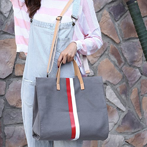 Damen-Tasche Einfache Leinentasche Stripes Hit Farbe Mode Schulter Large Capacity Handtasche Messenger Bag B