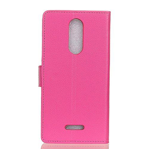 Klassische Litchi Texture PU Leder Schutzhülle Horizontale Folio Flip Stand Case Cover mit Kartensteckplätzen für WIKO UPULSE ( Color : White ) Rose