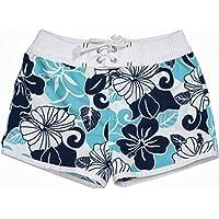 Snapper Rock Short de bain anti-UV pour fille Motif Tropical Blues Blanc blanc/rose