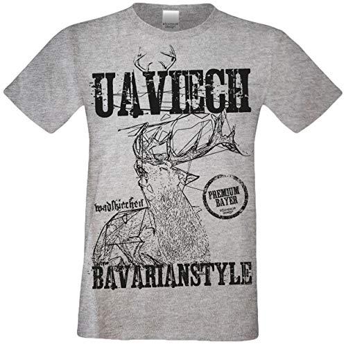Kurzarm Trachten T-Shirt Herren : Hirsch Uaviech : Premium Bayer : Volksfest Oktoberfest Freizeitshirt Männer bis 5XL Farbe: dunkelgrau Gr: L