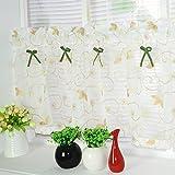 Amerikanisches Land Art gestickten Gaze Vorhang Bistrogardine Küchengardine Scheibengardine, BxH 140x200cm, Khaki