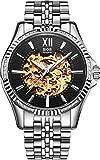 BOS Cadran Noir Case Skeleton mécanique bande en acier inoxydable bracelet étanche Montre Homme 9010