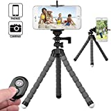 SKYBD Octopus Style, Portable And Adjustable Tripod Stand Holder, Selfie Stick With Universal Clip And Remote For IPhone, Samsung Cellphone Camera (Gray)