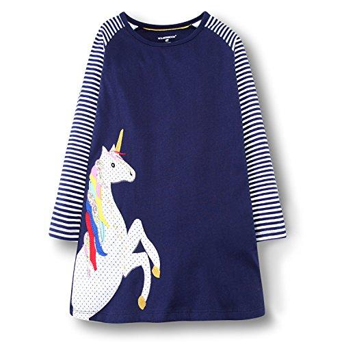 OHBABYKA Little Girls Cute Casual Baumwolle Tiere gedruckt Streifen Langarm Playwear Kleid (Purple Horse, 2T)