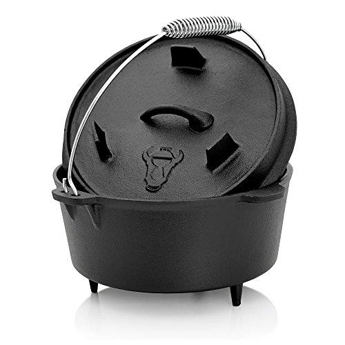 BBQ-TORO Dutch Oven Topf, Kochtopf aus Gusseisen, 4,2 Liter Gusstopf, DO4.5 Bräter mit Deckelheber, Deckel mit Füße, Outdoor Feuerkessel für Barbecue, Camping, Garten und Grillen