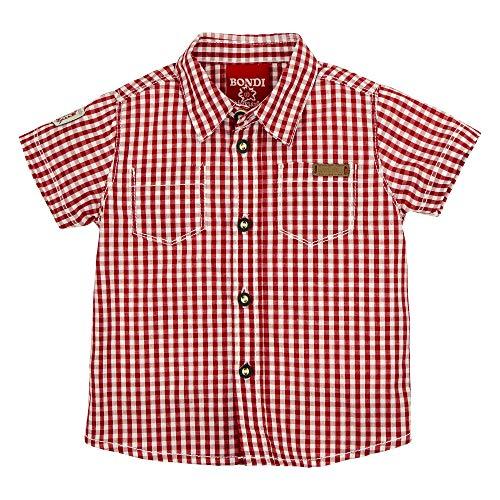BONDI Trachtenhemd Kurzarm, karo rot/Weiss 110 Tracht Baby Jungs Artikel-Nr.91125