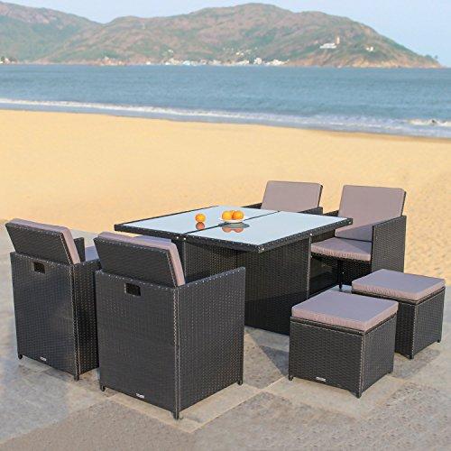 RedNeck Gartenmöbel Set 4er Sitzgruppe Dining Lounge schwarz Polyrattan Alu