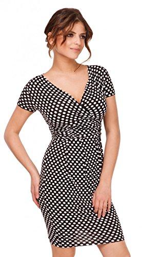 Glamour Empire. Femme robe fourreau a pois taille froncée. Manches courtes. 018 Noir à pois