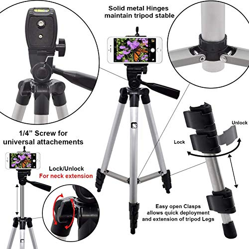 Syvo 3110 Foldable Camera Tripod With Mobile Clip Holder Bracket, Fully Flexible Mount Cum Tripod, Standwith 3D Head & Quick Release Plate (Black)