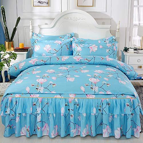 QIN Tagesdecke mit Blumenmuster, Bettüberwurf, Bettbezug, 2 Kissenbezüge, 4er-Set, Einzel-, Doppel-, Kingsize-Bett,A,200 * 220CM - Kingsize-bettbezug-bett