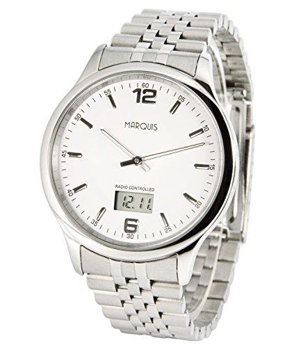 MARQUIS Herren Funkuhr,  Gehäuse und Armband aus Edelstahl, Armbanduhr, Junghans-Uhrwerk  964.6023