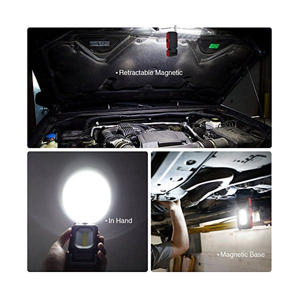 WOOPHEN Lampada da Lavoro a LED Portatile, Torcia Multiuso COB, Base Magnetica, a Batteria con Illuminazione da 5000K, per Riparazioni Auto, Campeggio, Blackout ed Emergenze 5 spesavip