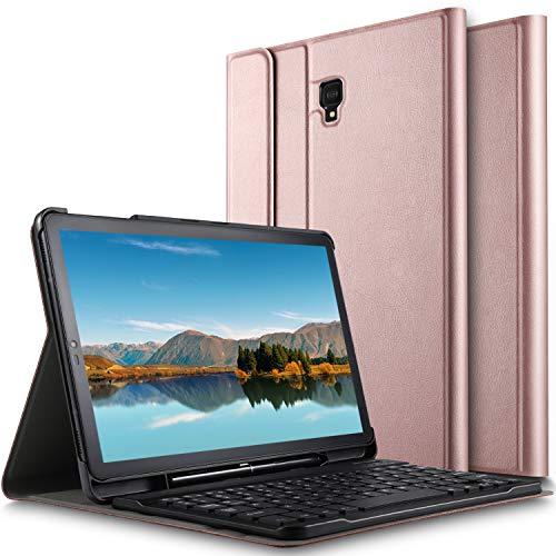 ELTD Tastatur Hülle für Samsung Galaxy Tab S4 T830/T835,(Deutsches QWERTZ-Layout),Standfunktion Hülle mit Abnehmbar Kabellose Tastatur für Samsung Galaxy Tab S4 T830/T835 10.5 Zoll 2018 (Rosegold)