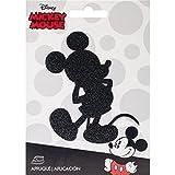 Simplicity Black Sparkle Disney Mickey Mouse Aufnäher, Polyester, mehrfarbig, 10.34X 14.22X 0,2cm