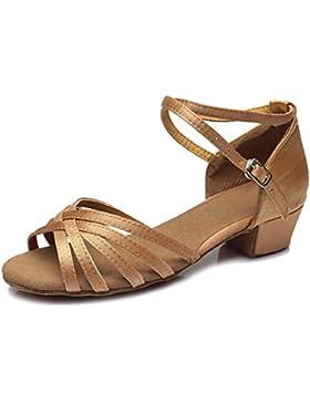 [Patrocinado]SWDZM Niñas Estándar de Zapatos de baile latino Satén Ballroom modelo-ES-202