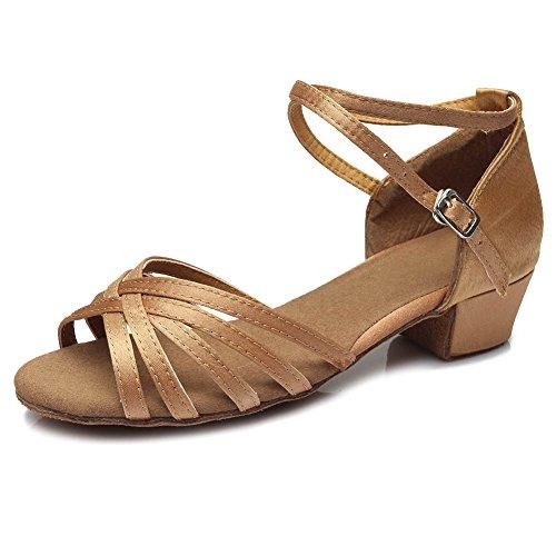 SWDZM Mädchen Ausgestelltes Tanzschuhe/Standard Latin Dance Schuhe Satin Ballsaal Modell-D202 Beige EU35/21.8CM