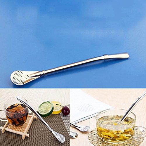 Pajitas en acero inoxidable, 2en 1paja y cuchara con filtro pajitas reutilizables paja para bebidas té, café, limonada, Zumo, Batidos, etc.