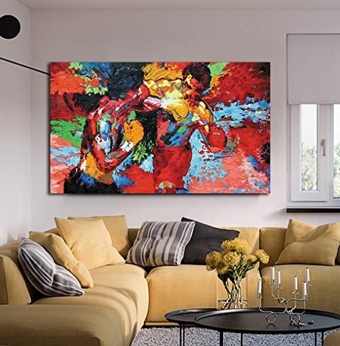 Póster de la película moderna para deportes de boxeo, colorido lienzo con impresión HD para el comedor, Rocky vs Apollo, arte decorativo listo para colgar, Rocky Vs Apollo, 24x36inch(60x90cm)