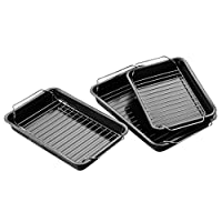 Protege Homeware Set of 3 Non-Stick with Wire Racks Roasting Trays