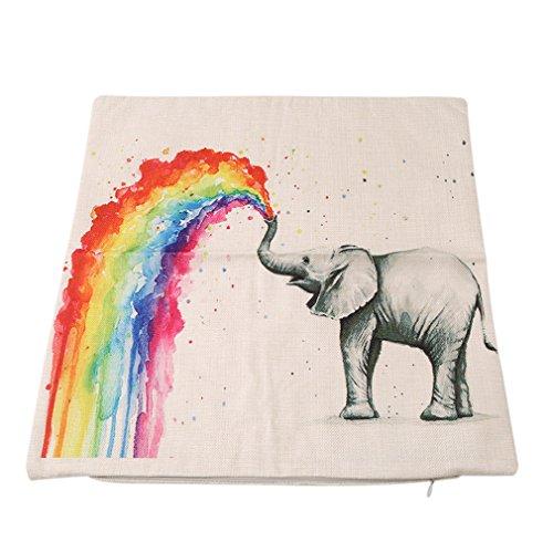 HENGSONG Elephant Printed Pillow Case Colorful Linen Throw Pillow Cover Cushion Cover PillowCase Home Decor