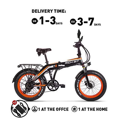 RICH BIT RT016 48V * 500 vatios Bicicleta eléctrica Bicicleta de montaña Bicicleta Plegable de 20 Pulgadas 9.6 Ah LG batería de Litio 4.0 Pulgadas Fat Tire Bicicleta (Orange)