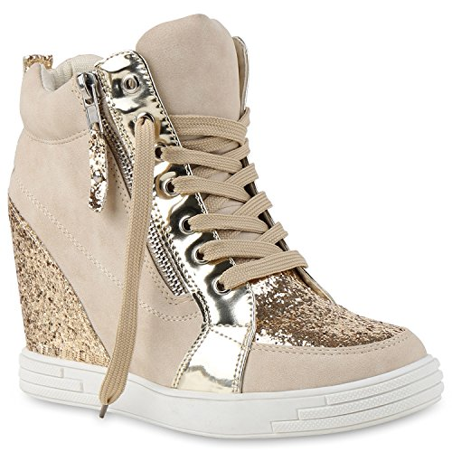 Stiefelparadies Damen Sneaker-Wedges Sneakers Pailletten Sport Keilabsatz Zipper Ketten Schnürer High Top Wedge Sneaker Schuhe 129117 Creme 39 Flandell