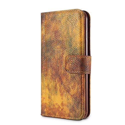 EKINHUI Case Cover Wald Serie Bunte Paiting Litchi Textur Premium PU Leder Horizontale Flip Stand Brieftasche Case Cover mit Card Slots für iPhone 6 und 6s ( Color : Crimson ) Yellow