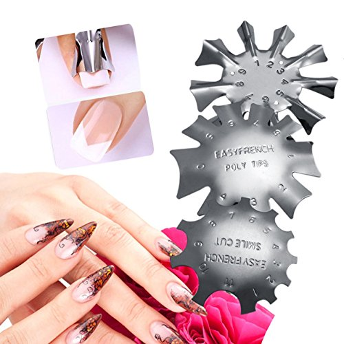 Harlls 3 Teile/Satz Durable Metall Edelstahl Französisch Maniküre Modellierung Form Platten Kristall Nagel Stanzen Platten - Silber